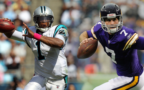 Christian Ponder and Cam Newton face off