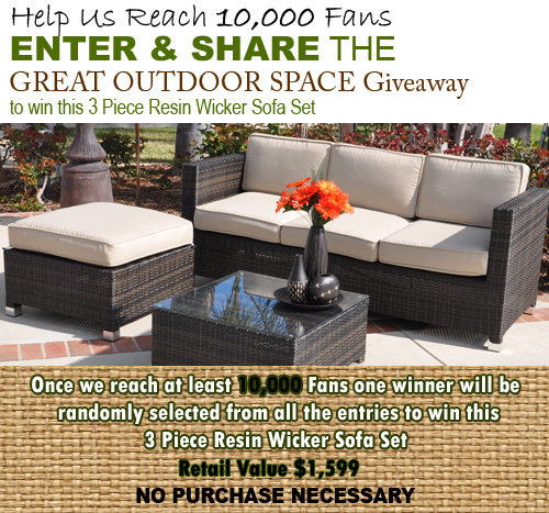 Enter And Share To Help PatioShoppers.com Reach 10,000 Fans. They Will Then  Be Giving Away A 3 Piece Resin Wicker Sofa Set, Valued At $1599.