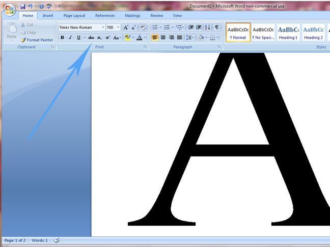 Как сделать на весь лист букву в ворде