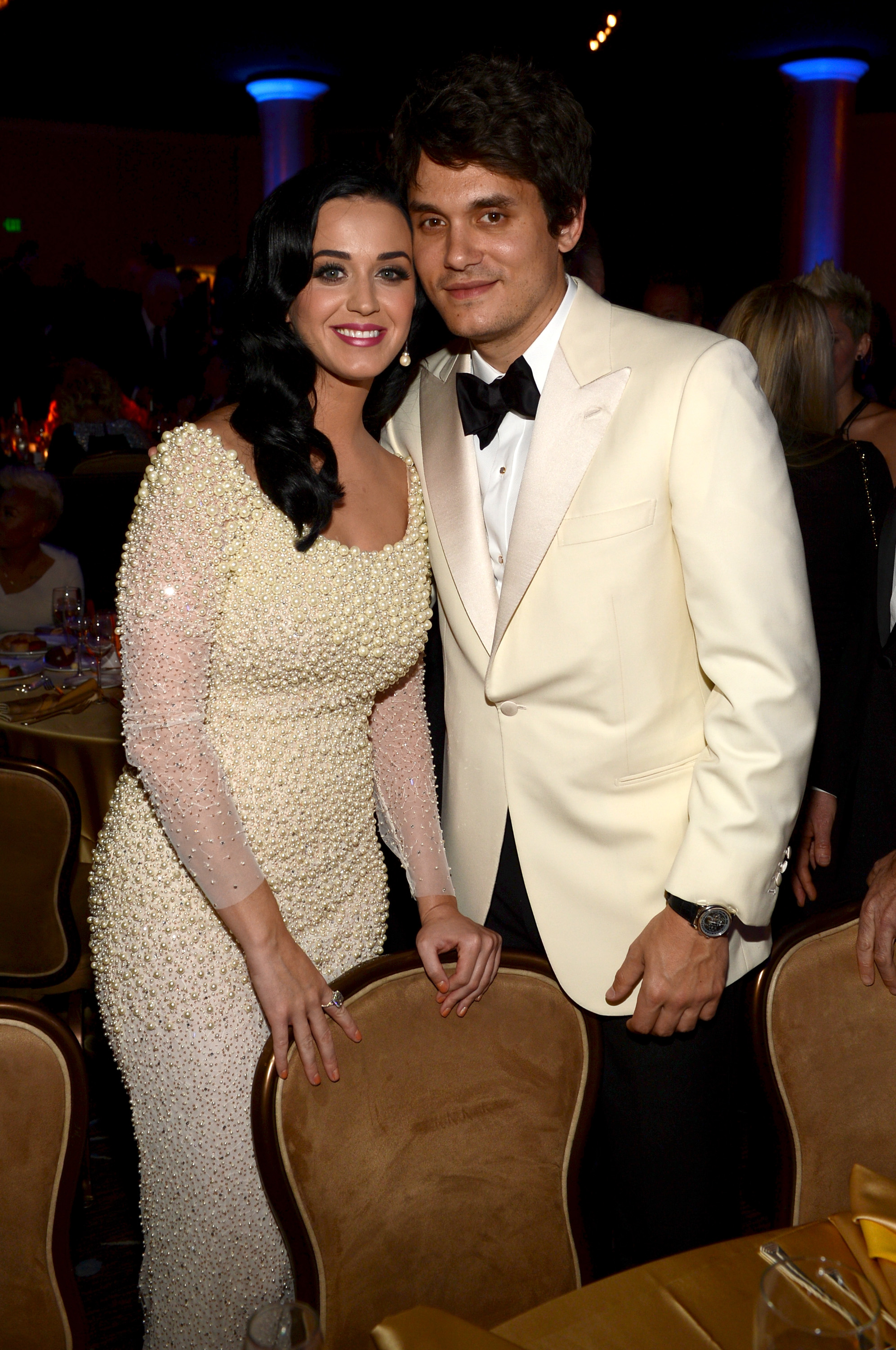 161299760 Katy Perry & John Mayer Wear Matching White To Clive Davis Pre GRAMMY Party