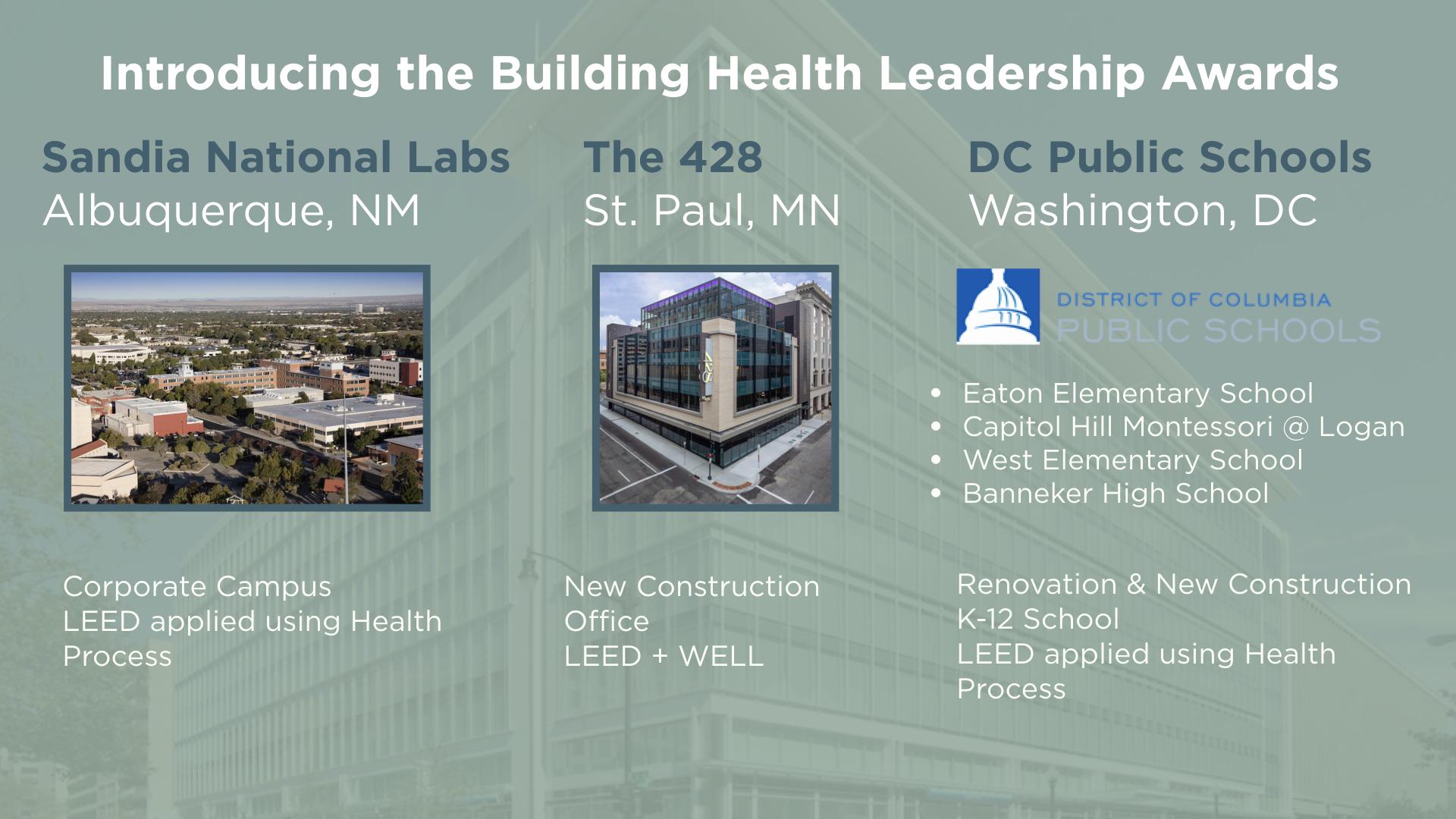 Building Health Leadership Award recipients