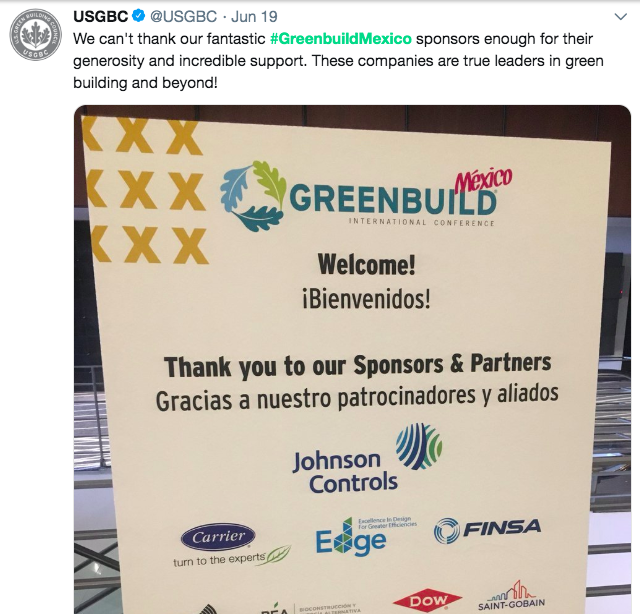 Example of a thank-you social post from Greenbuild Mexico
