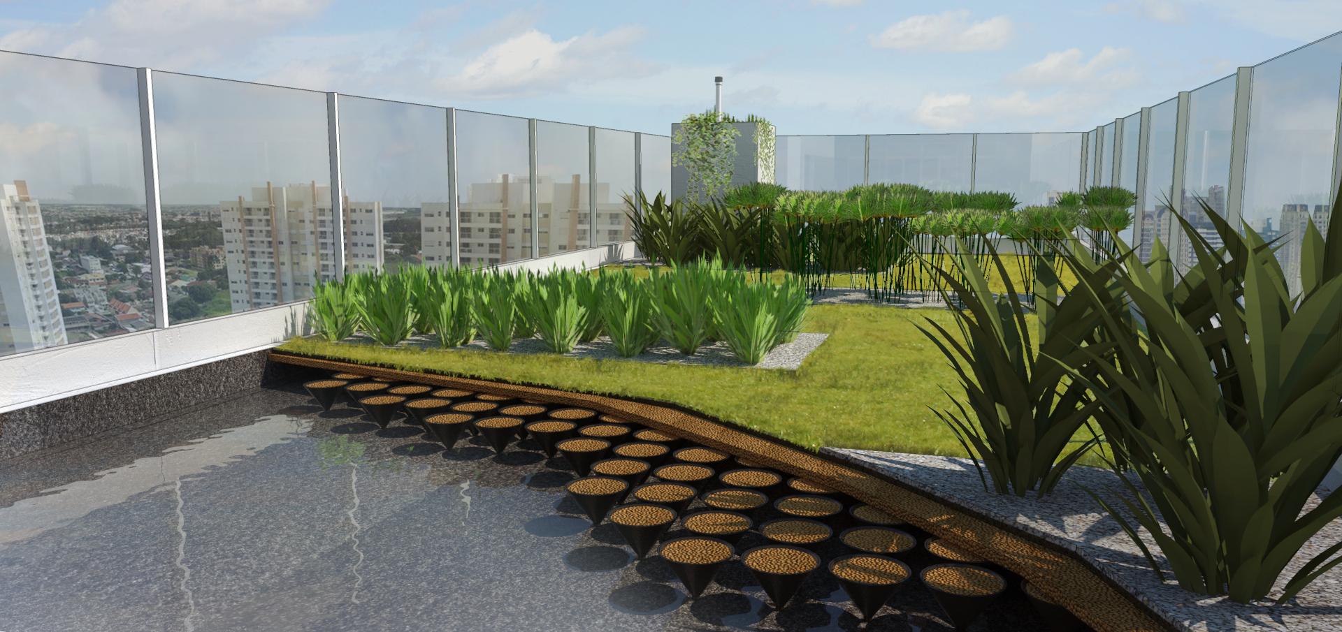 The LEED Platinum, LEED Zero Water Eurobusiness building rooftop constructed wetland