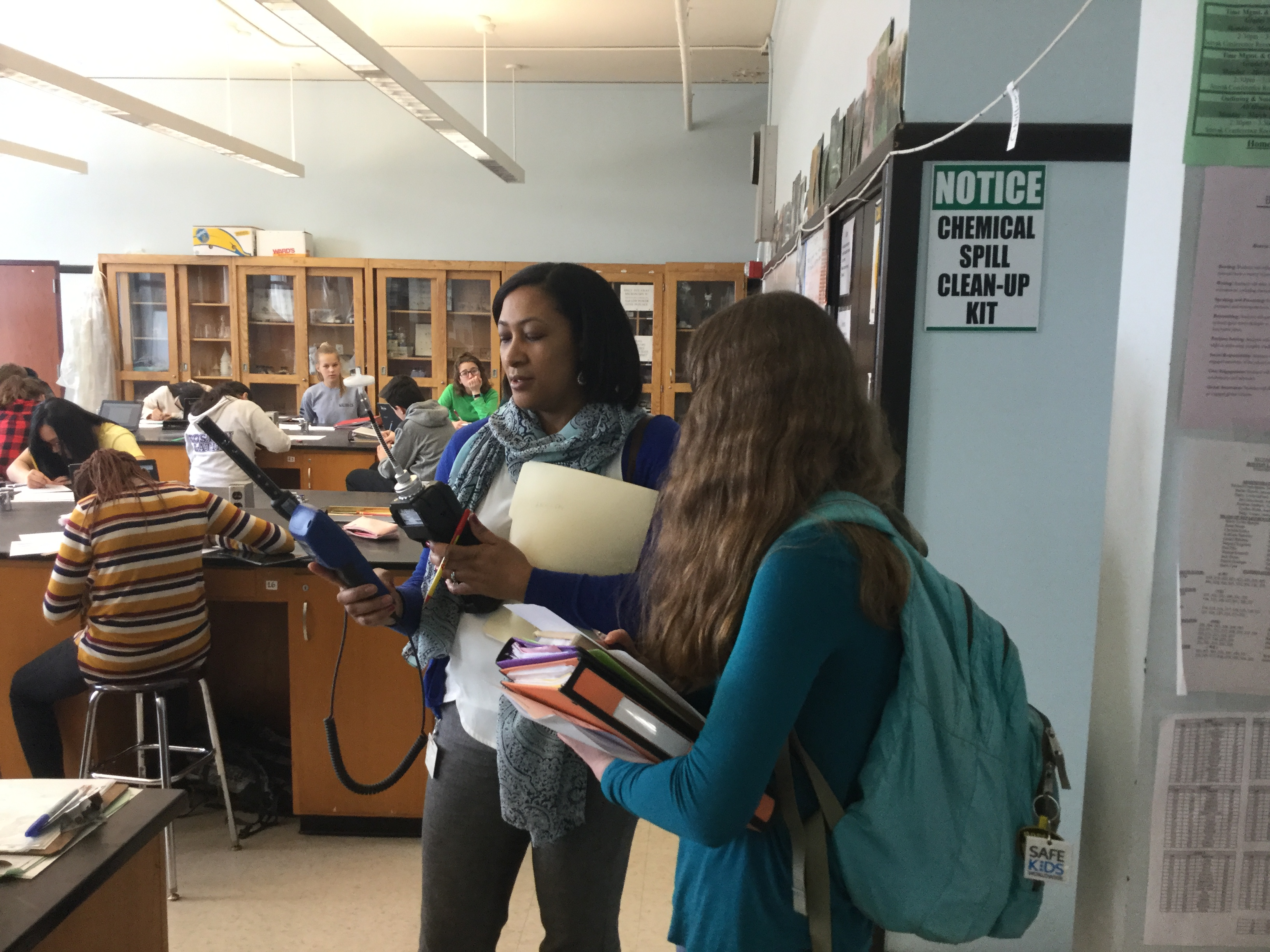 Boston Latin School students conduct an air quality audit