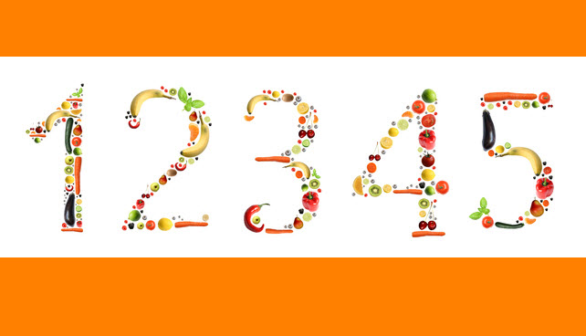 Large numbers from 1 to 5 are formed out of colorful foods