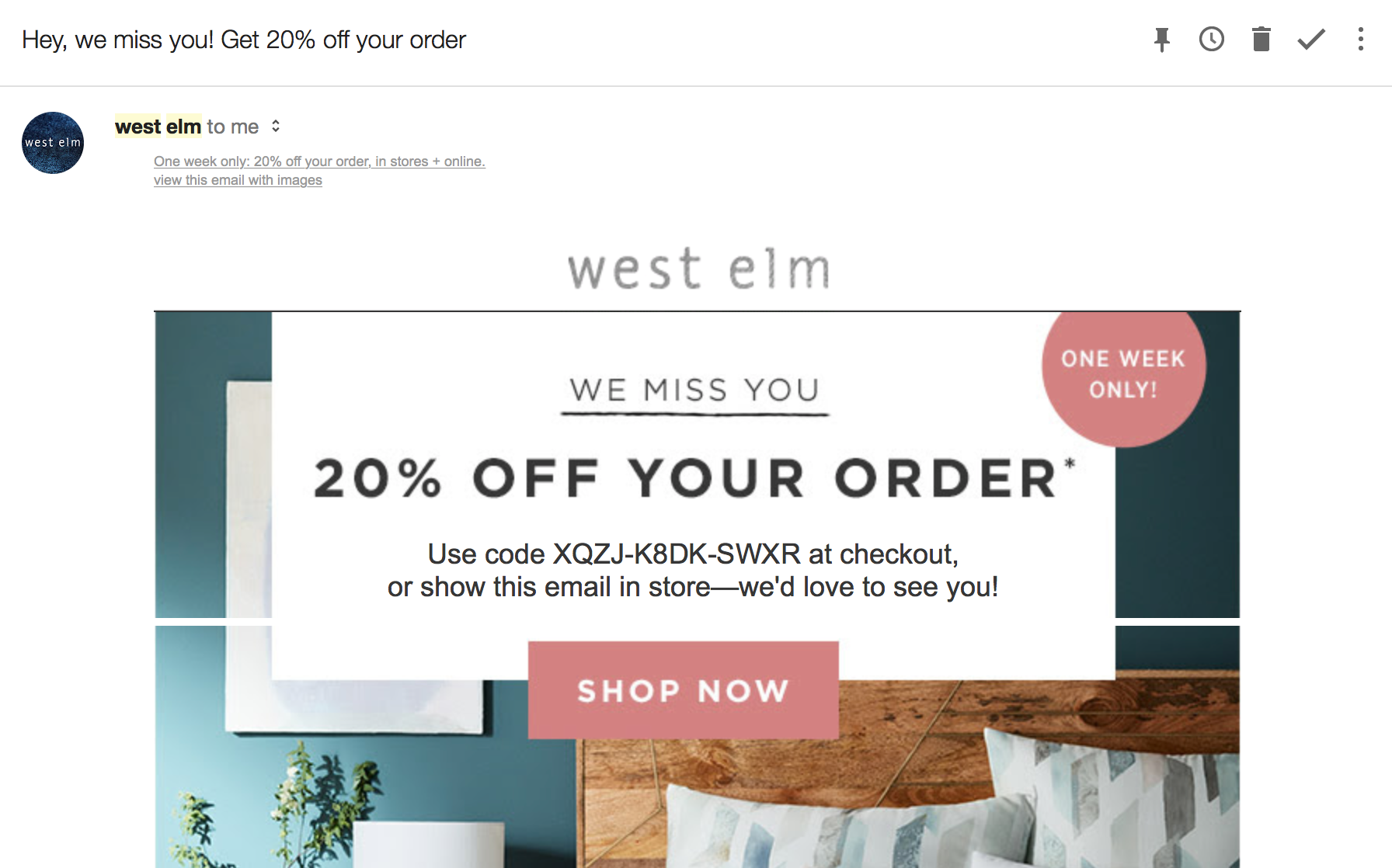 West Elm shop now email