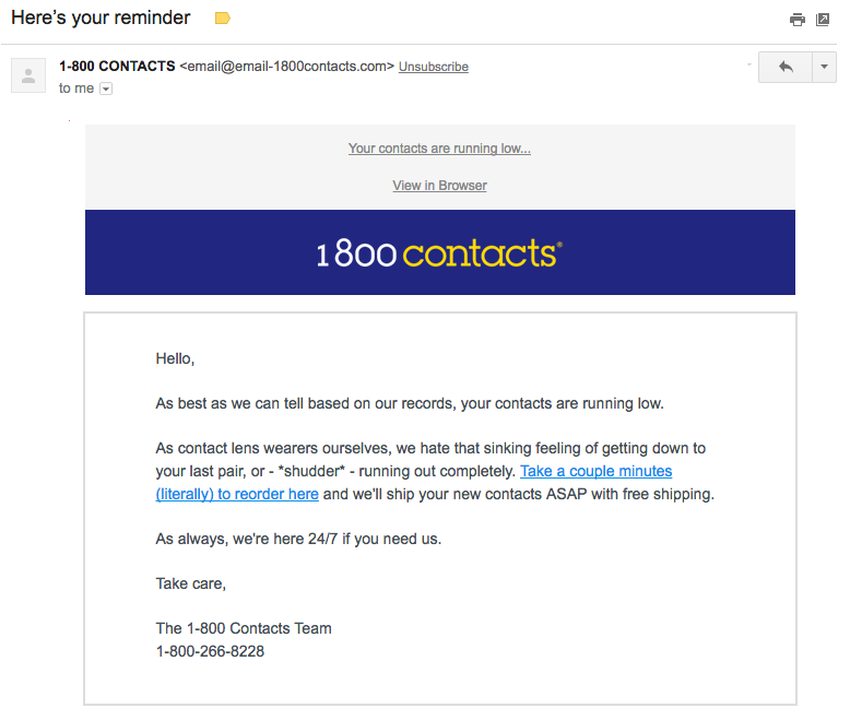 1800 Contacts customer engaging email