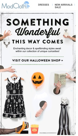 Mad Cloth Halloween email for subscriptions
