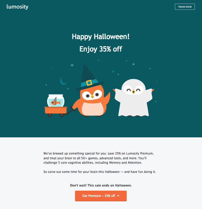 Lumosity Halloween email offers