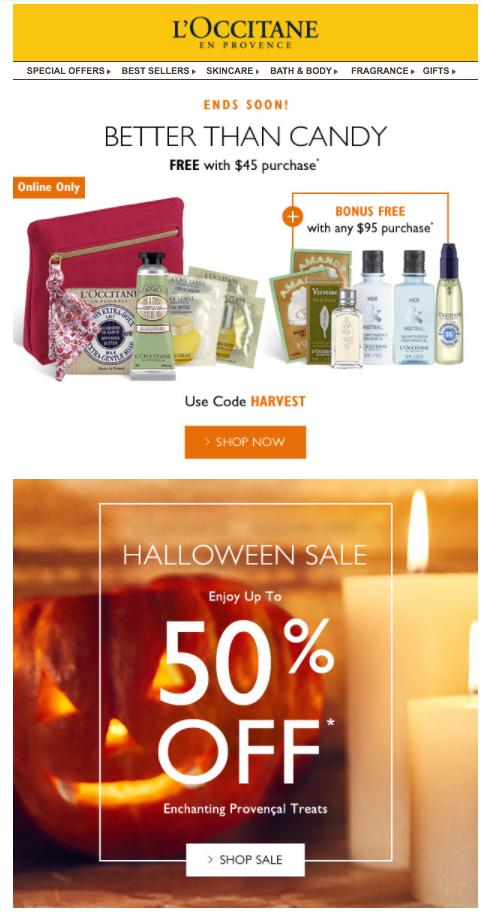 L'Occitane en Provence Halloween email offering