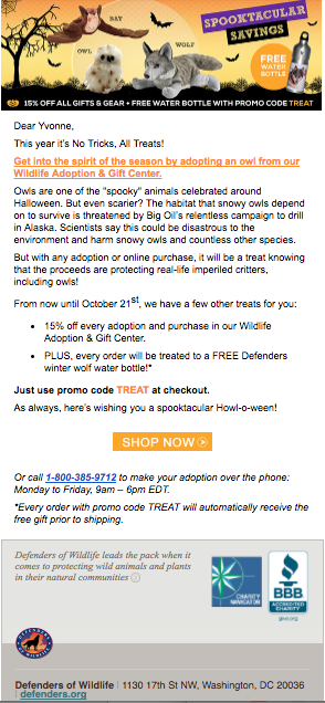 Defenders of Wildlife Halloween email subject line is a catcher.