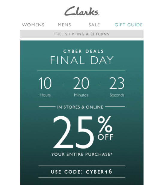 Countdown clock for Cyber monday