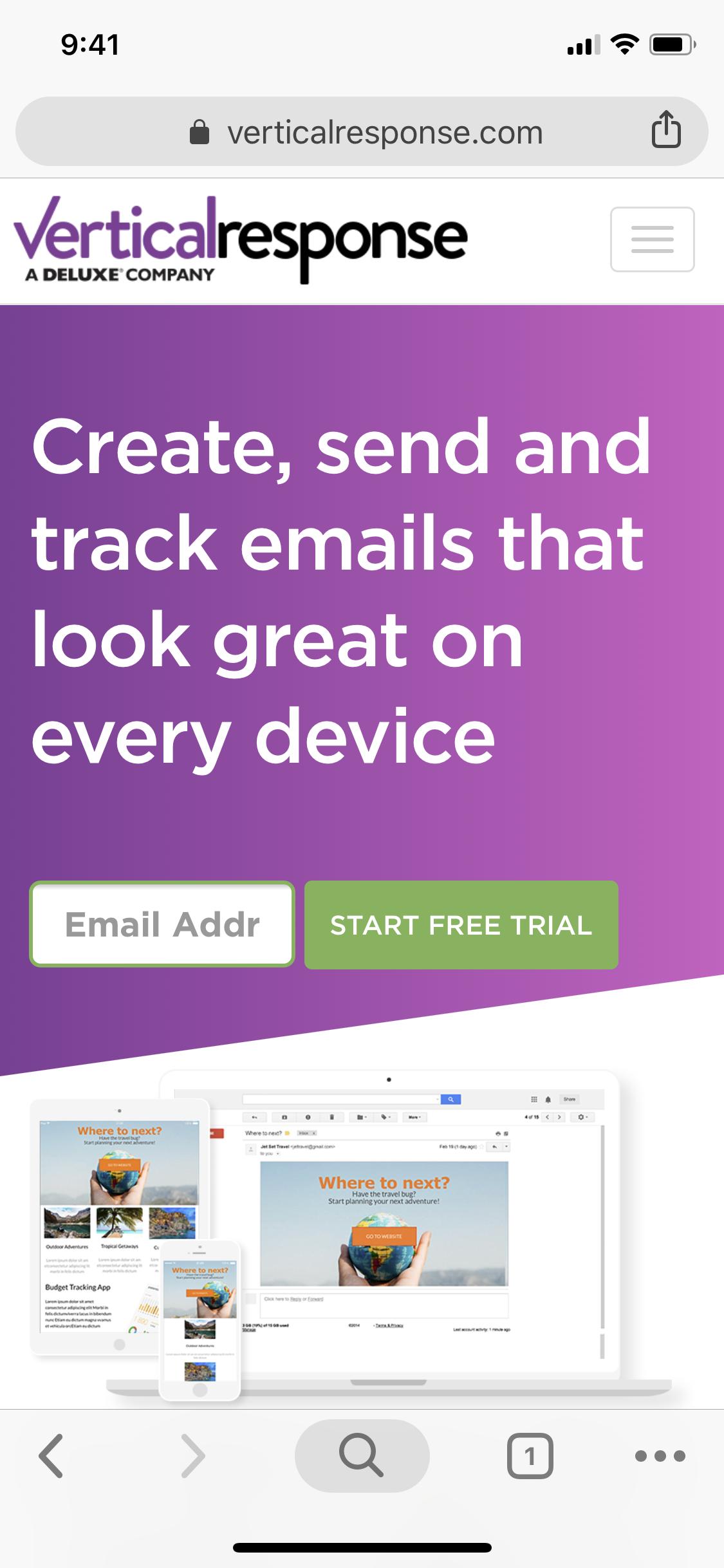 VerticalResponse mobile homepage