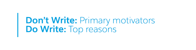 don't write: primary motivators. do write: top reasons