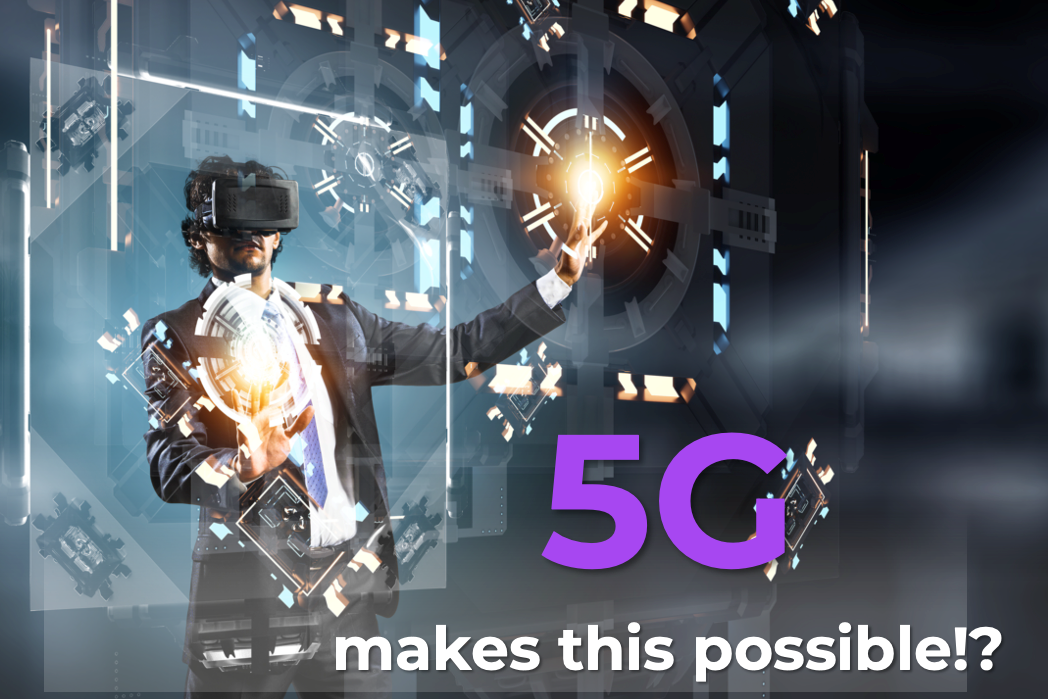 A futuristic ad claiming 5G as the conduit for AR/VR everywhere.