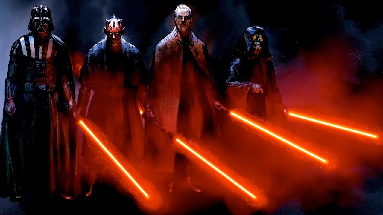 the sith holding light sabers