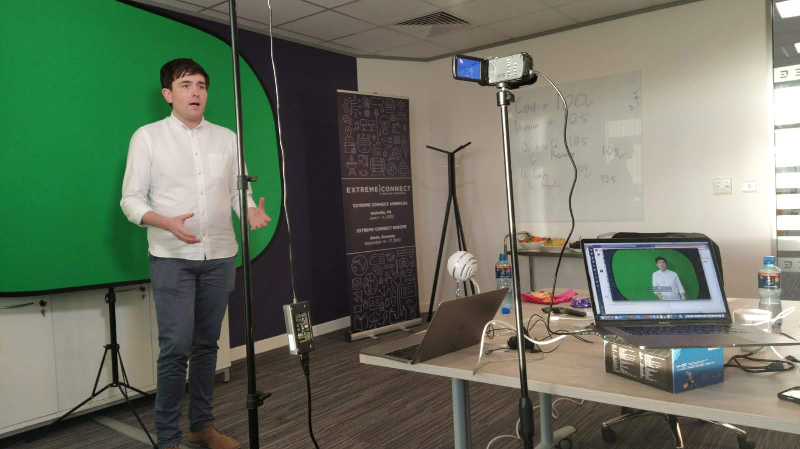 Donagh Horgan recording a video in the Shannon office.