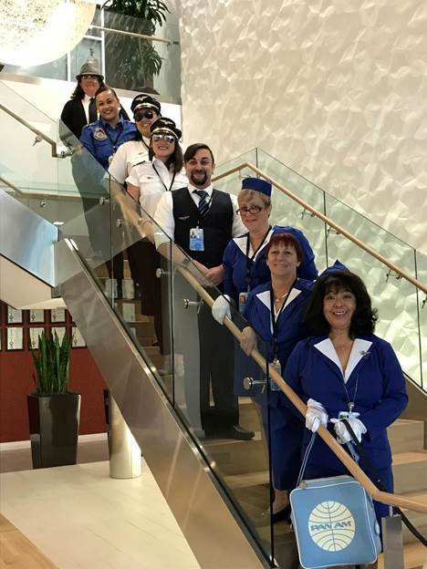 Diane and her teammates dressed up as the PAN AM flight attendants from Catch Me If You Can
