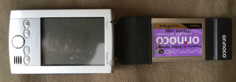 An 802.11b Symbol compact flash radio with a PocketPC and a CF to PCMCIA adapter to use my ORiNOCO Gold card with my PDA.