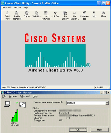 the ORiNOCO and Cisco software client utilities