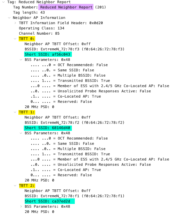Multiple 6 GHz SSID information via out-of-band discovery