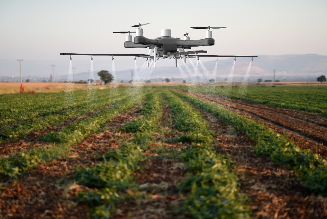 Drone used in farming for spraying crops