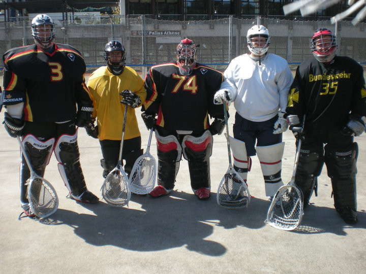 "goalies at the first, last and only ""national team camp"" in Munich"