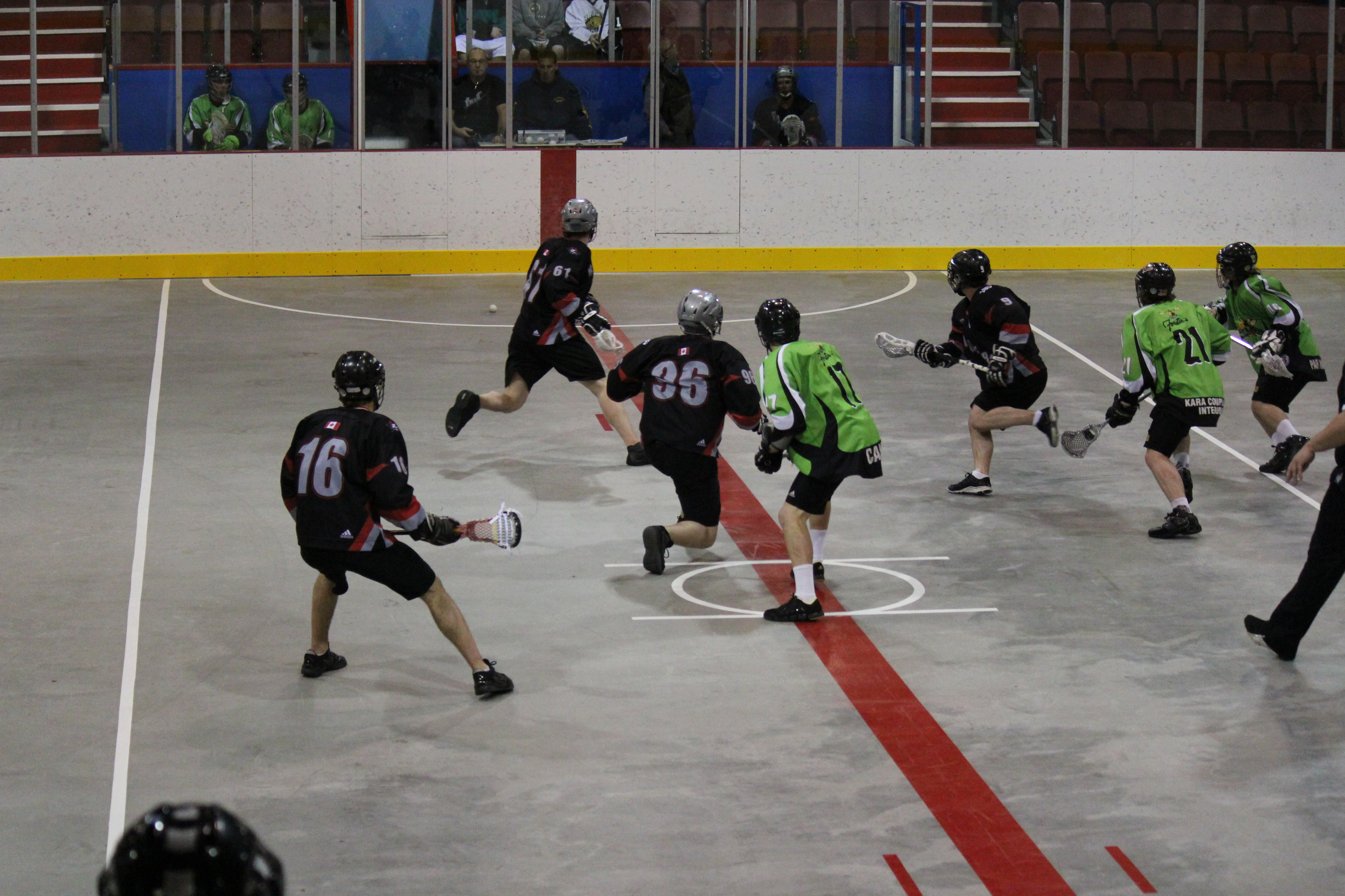 Typical Jr lacrosse faceoff