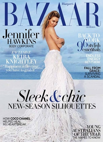 Jennifer Hawkins Strips Down to a Skirt and a Smize for the February Issue of Harper's Bazaar