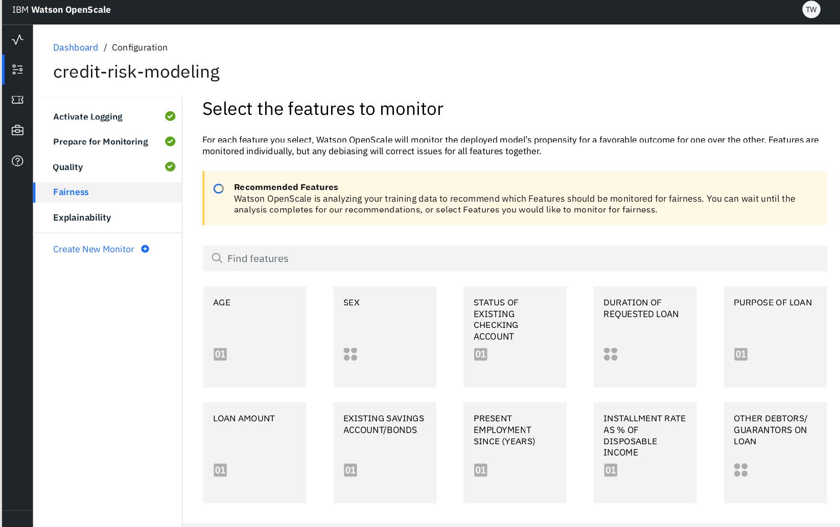 Watson OpenScale reference dashboard